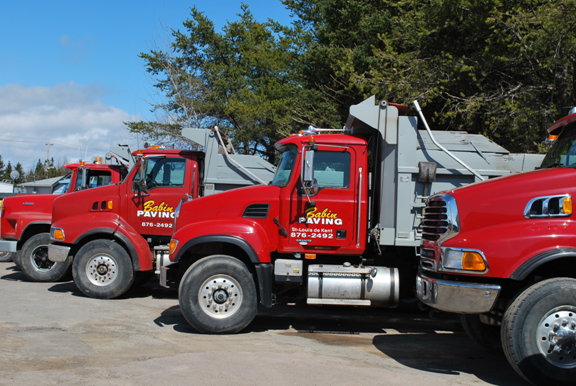 Babin Paving & Construction red trucks